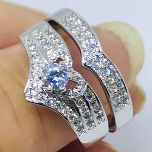 Jewelry - Platinum Plated White Gold Filled CZ 2PCS Ring Set
